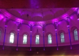 Uplighting pillars at a wedding.