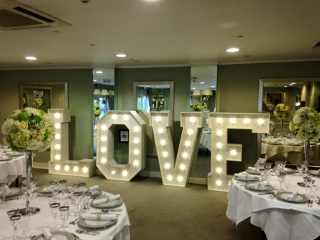 5ft LOVE letter hire the goodwood hotel cedar suite chichester