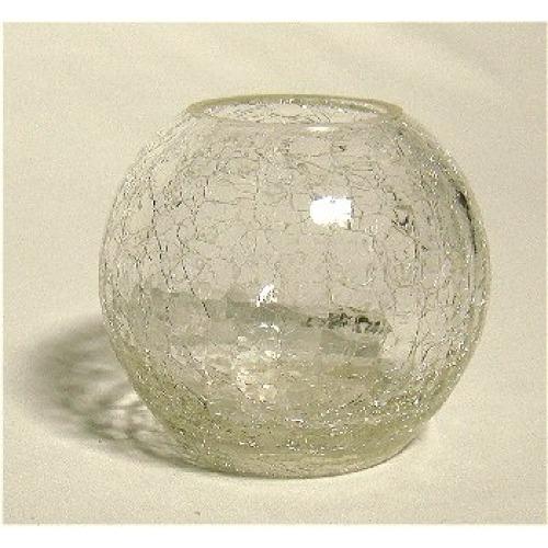 Spherical Crackle Cracked Glass Goldfish Bowl Vase Lizard Audio